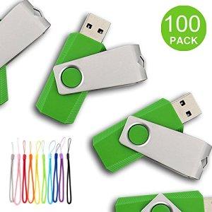 Yaxiny 100pcs USB Diks Clé USB à mémoire flash drive USB 2.0Mémoire disque Pen Drive 16 Go Green