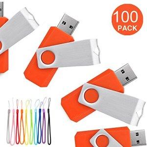 Yaxiny 100pcs USB Diks Clé USB à mémoire flash drive USB 2.0Mémoire disque Pen Drive 16 Go Orange