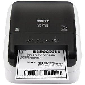 Brother QL-1100 Imprimante d'étiquettes industrielle thermique directe contient 1 rouleau DK11247 de 41 étiquettes adhésiveset 1 rouleau DK22205 de ruban continu