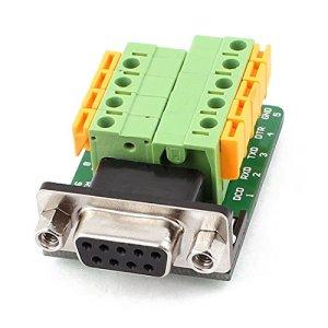 Cikuso DB9 RS232 Plaque Femelle Adaptateur Serie a 9 Positions connecteur Terminal Noir + Vert + Jaune