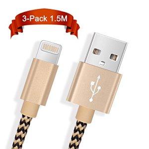 Froggen Chargeur Phone[1.5M Lot de 3] Cable de Phone Cordon Rapide Chargeurs vers USB de Nylon avec Connecteur Ultra Résistant en Aluminium-Or