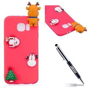JAWSEU Coque Étui Samsung Galaxy S6 Transparent Silicone,3D Créatif Ultra Mince Soft TPU Coque Belle Cerf de Flocon de Neige de Noël Christmas Snowflake Coque de Protection