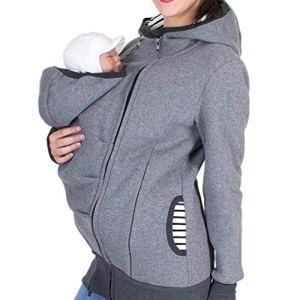 LONUPAZZ Manteau De Grossesse Femme Uni Sweat à Capuche Kangourou Zipper Maternité à Rayures Porte BéBé Veste