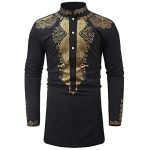 LONUPAZZ Robe Chemise Hommes Luxe Imprimé Africain Dashiki à Manches Longues Chemisier Automne Hiver
