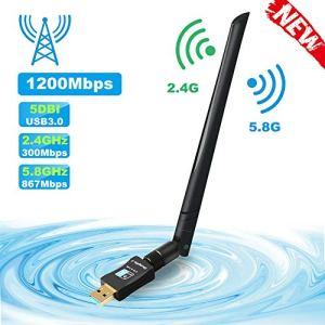 ShangQia Clé WiFi 1200Mbps Dual Bande 5G 867Mbps +2.4G 300Mbps Clé USB WiFi,USB 3.0 Carte WiFi Compatible avec Win 10/8.1/8/7/Vista Mac OS Linux