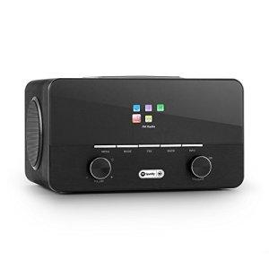 Auna Connect 150 BK 2.1 • Radio numérique WiFi • Lecteur réseau • Réseau • Dab/Dab+/FM RDS • USB MP3 • AUX • 2 Enceintes • arrêt Automatique • dimmable • Bois • Noir