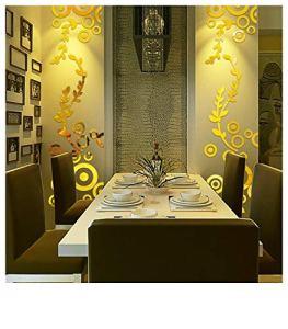 Buimin Miroir Acrylique 3D Sticker Mural Autocollants muraux Miroir Acrylique Anneau de Cercle créatif 3D Home Decor Decals Cuisine Maison Ameublement et décoration Autocollants Stickers (B)