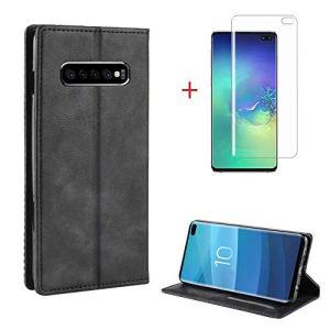 FGXG Coque Samsung Galaxy S10 Plus, Housse PU en Cuir Premium Flip Case Portefeuille Etui Coque pour Support+1 * Couverture d'écran Souple HD(Noir)