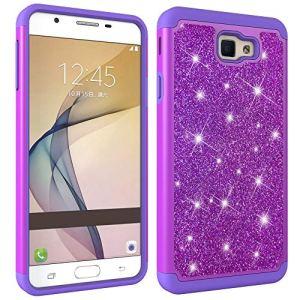 JAWSEU Coque Galaxy On7 2016,Etui Galaxy J7 Prime 2016 Silicone Gel TPU Case Glitter Paillette Brillant 2 en 1 Placage Rigide PC Housse de Protection Diamant Strass Case,Violet