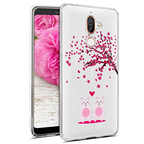 JAWSEU Coque Sony Xperia XA2 Cristal Clair Soft Silicone Proective Case Série de Fleurs de Cerisier Transparent TPU Case Ultra Mince Souple Gel Flexible Bumper Protecteur Housse Etui
