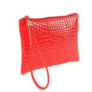 Kingwo Sac à main de mode Pochette Porte-Monnaie Crocodile Motif (Rouge)