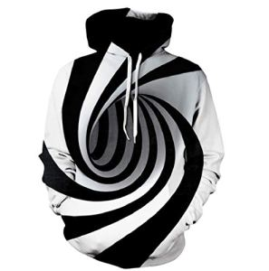 LONUPAZZ Hooded Sweat-Shirt Homme 3D Digital Vortex Imprimé à Manches Longues Sweat à Capuche Tops