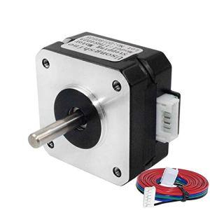Usongshine 17HS4401 Nema 17 Moteur pas à pas 1,5 A 1,8 ° 4 pour imprimante 3D CNC XYZ avec fil de 1 m avec manchons isolés, 17HS4023, 1.0A/0.13Nm,Black, 1