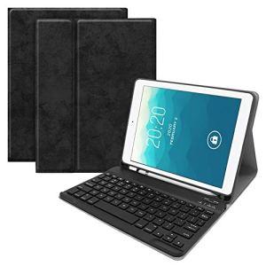 Asiproper Étui de Protection pour Clavier Bluetooth 3.0 sans Fil 2 en 1 Ultra Fin pour iPad Air 1/2 Pro 9.7 Noir