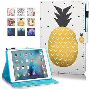 Coque de protection Mokase pour iPad mini 2, 3 ou 4d'Apple – En cuir – Avec pied – Dessin coloré – Porte-feuille