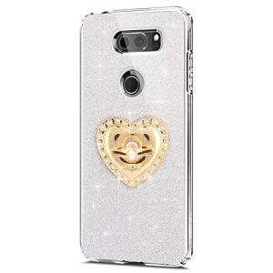 JAWSEU LG V30 Coque Etui Silicone TPU, Glitter Bling Strass Diamant Support de Bague de Stand,Luxe Mode Sensation de Matte Cristal Brillant Soft TPU Bumper Case
