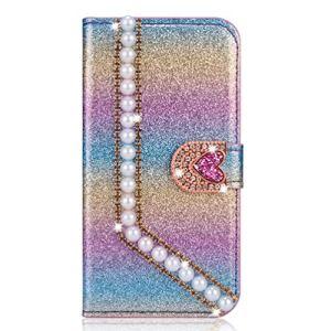 Miagon Coque Diamant pour Samsung Galaxy S7 Edge,Glitter Strass Perle Cœur PU Cuir Étui à Rabat Portefeuille Stand et Porte-Carte Housse de Protection Cover,Coloré Bleu