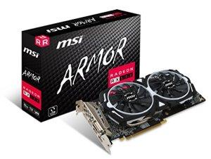 MSI AMD RX 580Armour 8g OC 8Go de mémoire 256Bits GDDR5DVI/DP/HDMI Carte Graphique PCI Express 3–Noir