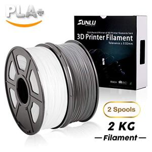 SUNLU 3D Printer Filament PLA+ 2KG (White+Grey), 1.75mm PLA Filament, 3D Printing Filament Low Odor, Dimensional Accuracy +/- 0.02 mm, 2.2LBS (1KG) Spool, 2KG spools White+Grey PLA+
