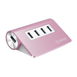 ORICO Aluminium 4 ports USB3.0 Hub avec 2Ft. Cordon USB pour Téléphones Intelligents, Tablettes, Ordinateurs Portables, Ordinateurs de Bureau et Autres Périphériques Apple – Rose