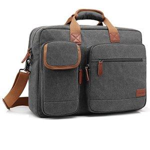 Coolbell Sac Multifonction pour ordinateur portable/tablette/Macbook/Dell/HP 17,3» en nylon, avec bandoulière, pour le travail, pour homme et femme gris gris foncé 17,3 Pollici
