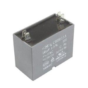 DealMux CBB611A AC 450V 10uF 4 Pins Air Conditioner Motor Capacitor Gris