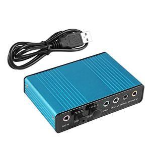 HWZDQLK Carte Son Externe 6 canaux 5.1 Son Surround USB 2.0 Adaptateur de Carte Son Audio Optique Externe S/PDIF Externe for Ordinateur Portable Enregistrement Compatible avec Windows 10/8 / 7 / XP