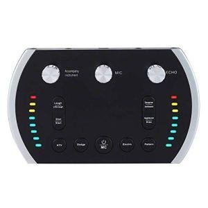 HWZDQLK Table de mixage numérique Portable Carte Son Live Live Changeur de Voix Enregistrement en Ligne instantané Chanter Une émission en Direct avec Une lumière colorée, 12 Sons, 8 changeur de Voix