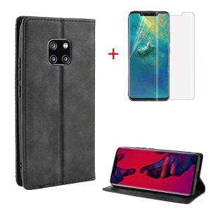 FGXG Coque Huawei Mate 20 Pro, Housse PU en Cuir Premium Flip Case Portefeuille Etui Coque pour Support+1 * Couverture d'écran Souple HD(Noir)