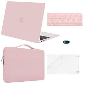 MOSISO Coque Compatible MacBook Air 13 Pouces A1932 2019 2018 avec Retina Display, Coque Rigide & Sac de Transport & Protection Clavier & Protecteur Écran & Couverture de Webcam, Quartz Rose