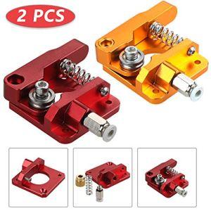 Anpro 2 Sets Nouvelle Version MK8 Extrudeuse Droitier 1.75mm Filament 3D Extrudeuse Kit En Aluminium pour Creality 3D Ender 3,CR-7,CR-8,CR-10,CR-10S,CR-10 S4 et CR-10 S5-2couleurs Rouge Dorée