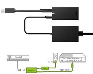 PeakLead [Édition améliorée] Kinect Adaptateur, USB 3.0 Adapter permettant de connecter Le Capteur Kinect V2 Sensor avec Xbox One S, Xbox One X et Windows 8, 8.1, 10 PC, Alimentation EU Incluse