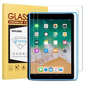 SPARIN Verre Trempé (Gabarit Offert) Compatible avec iPad 9,7 (modèle 2018 et 2017 6ème/5ème Génération), iPad Air 2 et iPad Air, Protection Ecran pour iPad 9,7 Pouces, iPad Air 2 et iPad Air, 9H