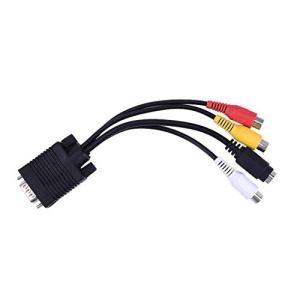 SVGA VGA vers S-Video 3 Convertisseur RCA AV Composite Composant Audio Câble d'Adaptateur Câble PC Entrée Sub-D VGA standardblack