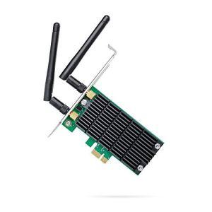 TP-Link Archer T4E PCI Express Adaptateur WiFi bi-bande AC 1200 Mbps, 867 Mbps sur 5 GHz et 300 Mbps sur 2,4 GHz, Antennes détachables, Beamforming, MIMO 2×2