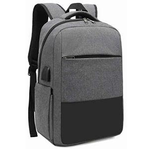 XQXA Sac à Dos Ordinateur Portable Homme Imperméable Antivol avec USB Charging Port Sac a Dos PC Portable 15,6″ Sac à Dos de Voyage d'affaires Loisirs Collège -Gris