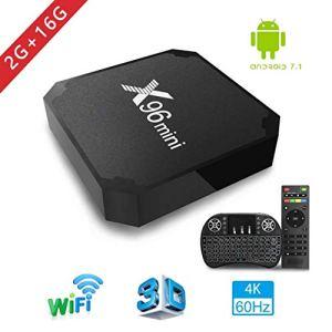 Android TV Box, x96 Mini Smart TV Box avec Mini Clavier Android 7.1 Neueste Amlogic s905 W Quad Core Prozeßor, 4 K Ultra HD H.265, 2 x USB-anschluss, HDMI, WiFi Media Player