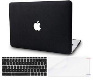 KECC MacBook Pro Retina 13 Pouces Coque Rigide Case w/EU Protection Clavier + Protection d'écran pour MacBook Pro 13.3 Retina Coque {A1502/A1425} (Cuir Noir)