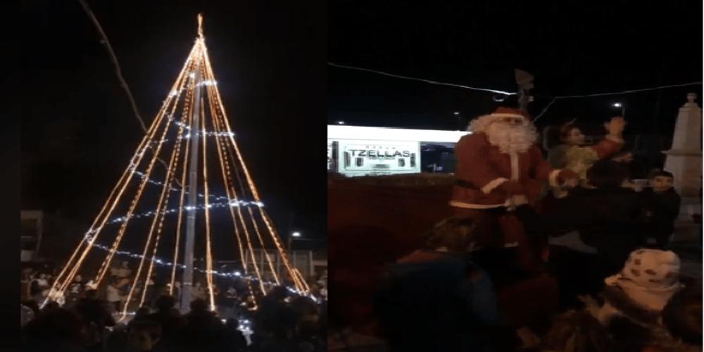 Εντυπωσιακή φωταγώγιση του χριστουγεννιάτικου δέντρου στο Θούριο Ορεστιάδας (video)