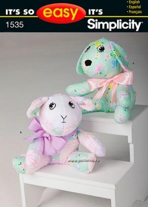 Выкройка Simplicity — Мягкие игрушки: собака, ягненок - S1535 ()