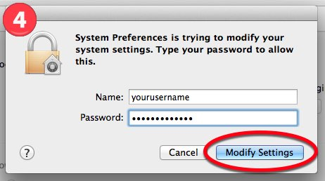 "4. Fill in the boxes for your username and password and select ""Modify Settings""."