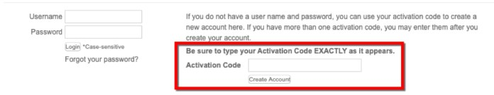 Activation Code Box for NEW Users