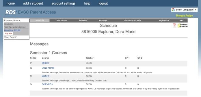 Student Schedule - Parent Access