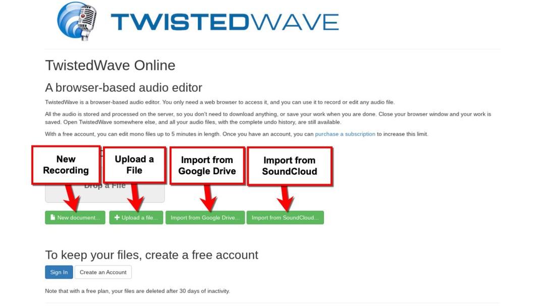 TwistedWave Main Page