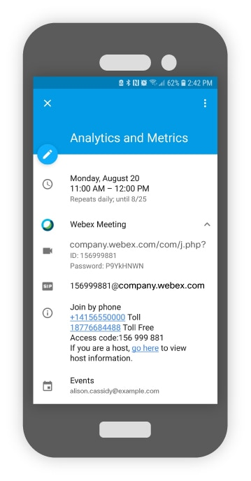 Join a Webex using Google Calendar on a Mobile Device