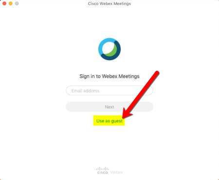 Click GUEST when using the macOS, Windows, Android, and iOS application.