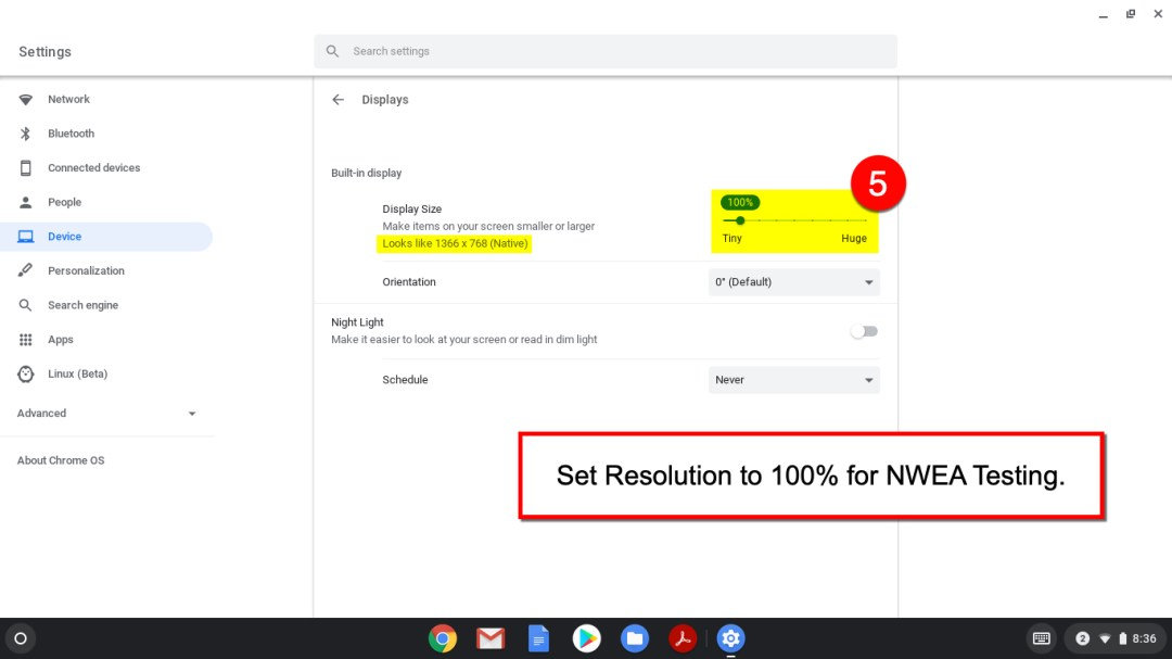 Adjust the Resolution for what you need. If doing NWEA testing, set it to 100%.