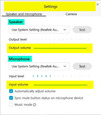 Audio Settings Panel