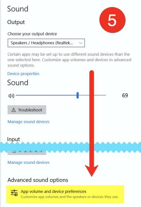 Scroll to the bottom of the page and select App volume and device preferences.