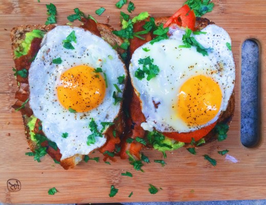 Bacon Avocado and Tomato Toast- An elevated and luxurious Avocado toast with bacon, tomatoes, and a fried egg. The perfect breakfast and brunch sandwich.
